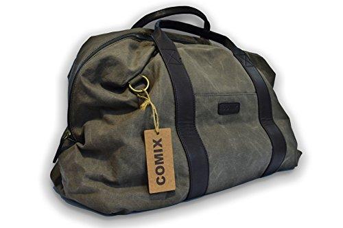 Borsone Comix Adventure 51x32x21 - in Morbido Cotone Effetto Cerato - con Tracolla (Brown)