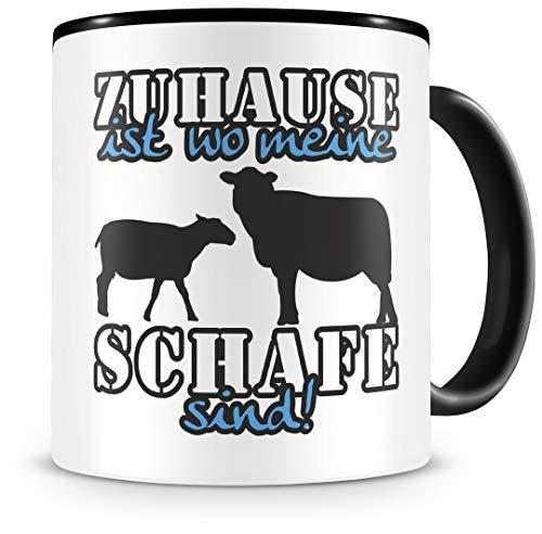 Samunshi® Schafe Tasse mit Spruch Zuhause ist Schafe Geschenk für Schafe Fans Kaffeetasse groß Lustige Tassen zum Geburtstag schwarz 300ml