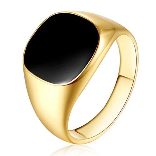 Ring Herren, Dragon868 Solide poliert Kupfer Band Biker Männer Siegelring schwarz Silber Ring (9, Gold)