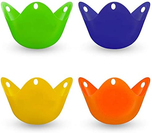 4Pcs Silicone Egg Poacher Cups Poached Egg Cups with Ring Standers for Eggs Benedict Set of product image