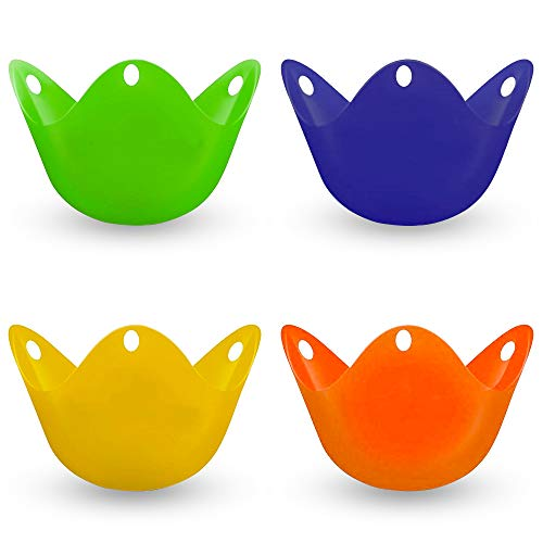4Pcs Silicone Egg Poacher Cups, Poached Egg Cups with Ring Standers for Eggs Benedict - Set of 4 Microwave Egg Poachers Silicone Pots for Easy Release and Cleaning Cooker