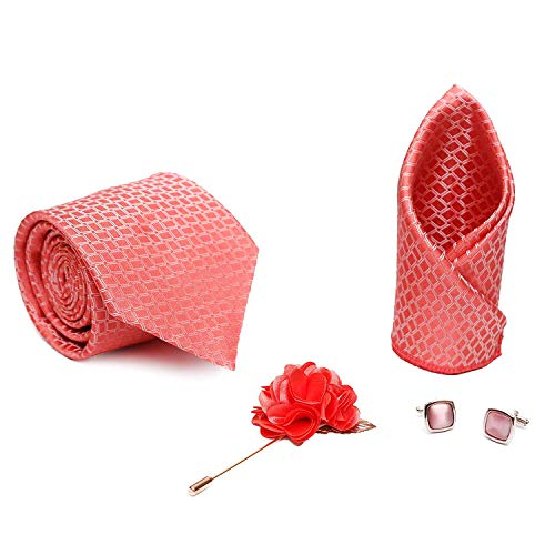 Axlon Men Formal/Casual Jacquard Neck Tie Pocket Square Accessory Gift Set with Cufflinks and Brooch Pin – Pink (Free Size)