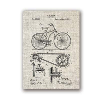 Fahrrad Kunstwerk Fahrrad Wandkunst Leinwand Malerei Poster Schlafzimmer Dekoration Kreative Wanddekoration A5 15x21cm