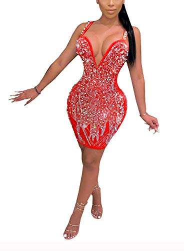Aro Lora Womens Sexy Sleeveless Glitter Rhinestones Nightclub Party Bodycon Mini Dress Medium Red