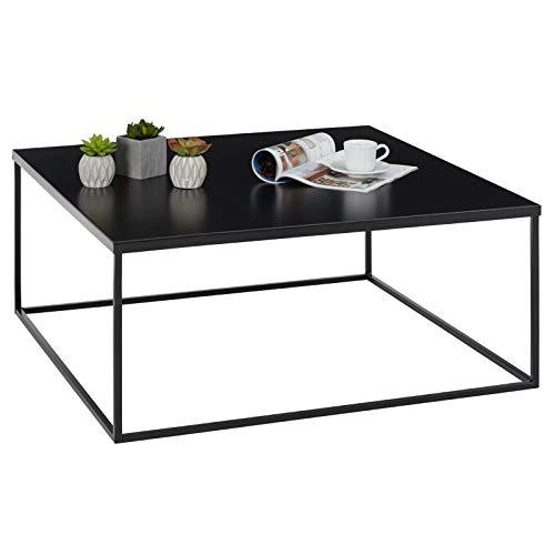 IDIMEX Table Basse HILAR Table de Salon Grande Table d'appoint Design Retro Vintage Industriel, Plateau carré de 80 x 80 cm en métal laqué Noir