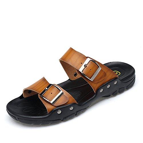LULI Männer Senkfusseinlage Slipper beiläufige und luftdurchlässigem Sandalen mit Metall-Dekor-Strand-Haut-Sandalen were for den Sommer Flip Flops (Color : Braun, Größe : 40 EU)
