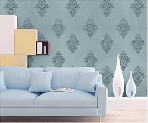 Papel Pintado Minimalista Moderno No Tejido 0,53 x 9,5m Damasco con versión AB Papel Pintado Decoración de Pared para Dormitorio TV Telón de Fondo, Azul claro A