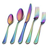 Rainbow Silverware Set,SHARECOOK 20-Piece Stainless Steel Flatware Set with Round Edge,Kitchen Utensil Set Service for 4,Dishwasher Safe (Multicolor)