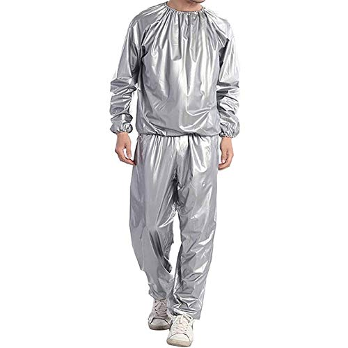 Fitness Sweat Sauna Suit - Pérdida de Peso Body Sweat Sauna Clothes Gym Anti-Rasgado PVC - Sweat Track Suit Reducción de Peso Adelgazante Boxeo (Color : Silver, Size : 3XL)