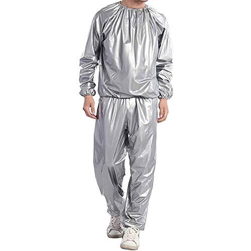 Fitness Sweat Sauna Suit - Pérdida de Peso Body Sweat Sauna Clothes Gym Anti-Rasgado PVC - Sweat Track Suit Reducción de Peso Adelgazante Boxeo (Color : Silver, Size : 5XL)