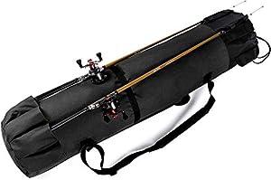 Huntvp Fishing Rod Reel Case Bag Organizer Travel Carry Case Carrier Holder Pole Tools Storage Bags (Black 2)