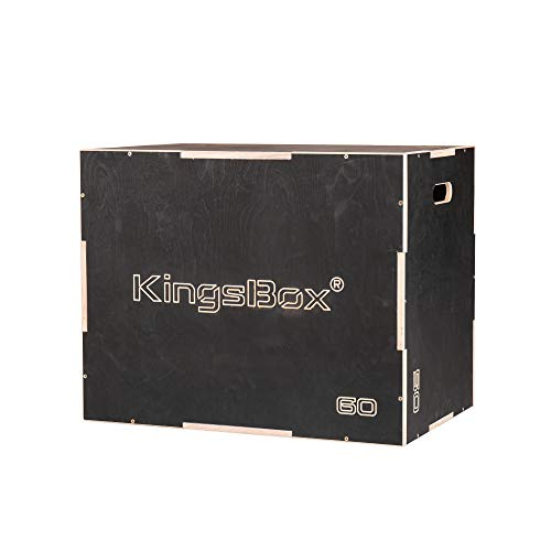 KingsBox Royal Plyo Box丨Caja de Salto de Madera Hecho en Europa丨Step-Ups, Push-Ups, Elevación de Pantorrillas, Dips, Saltos de Burpee, Salto de Profundidad丨Capacidad de Carga 200 kg丨Color Negro