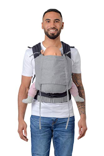 AMAZONAS Ergonomische Babytrage Soft Carrier mit Kapuze für Neugeborene & Kleinkinder Mitwachsend ab 0-3 Jahre bis 15 kg 100% Baumwolle in Grau