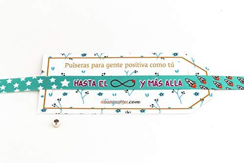Tarja 73 - Pulsera de Tela con Mensaje: HASTA EL INFINITO Y MÁS ALLÁ - Pulsera con Frase - Regalo Creativo e Ideal