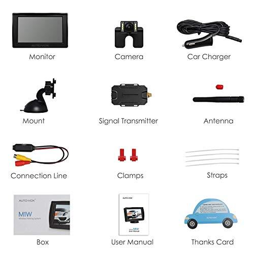 AUTO-VOX M1W Wireless Backup Kamera-Kit,Rückfahrkamera drahtlos, IP68 Wasserdicht LED Super Nummernschild Nachtsicht Rückseite Funk Back Up Auto-Kamera,10,9cm LCD TFT kabellos Rückfahrkamera Monitor