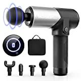 Massage Gun with Carrying Case, Professional Deep Tissue Massager for Athletes with 5 Speed Strength Levels for Muscle Soreness Relieves (Mini-Silver)