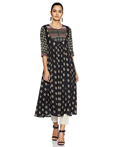 indigo by Clarks Women's Rayon Straight Kurta (SS20/IND-1345_ Black_ Medium)