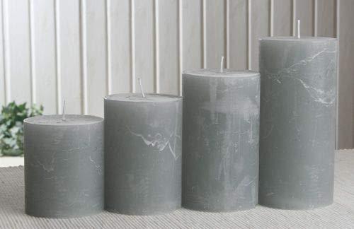 Rustik-Stumpenkerzen-Adventsset, groß, 7 cm Ø, grau