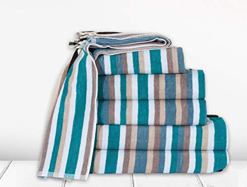 Northern Luxe Royal Victorian Stripe Toalla 100% algodón con rayas, excelente calidad (verde azulado, toalla de baño)