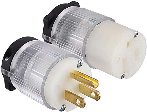 Miady Lighted Extension Cord Ends, 15 Amp 125 Volt NEMA 5-15, 2Pole 3Wire, Electric Plug Replacement, UL listed