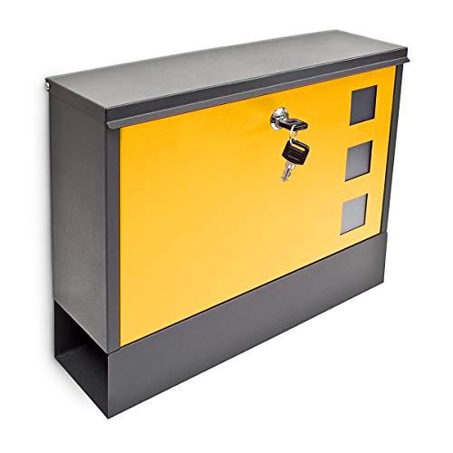 Relaxdays Briefkasten modern, mit Zwei Schlüsseln, abschließbar und mit Zeitungsfach, zweifarbig, Schwarz/Rot schwarz/gelb