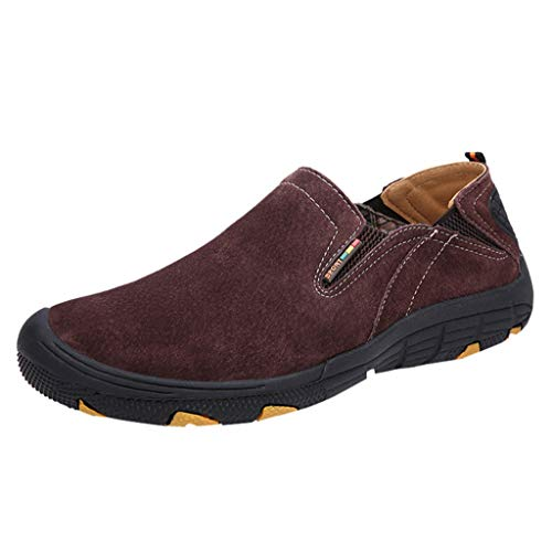 Mens Driving Causal Suede Loafers Slip on Classic Comfortable Oxford Walking Shoes Hiking Shoes Goosun Wear Resistant Sneakers Non Slip Trainers for Outdoor Trail Trekking Brown