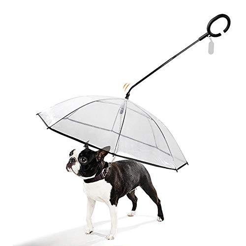 Rubyu Hund Transparente Regenschirm Pet Umbrella Skalierbar wasserdichte Hundeschirm Welpen mit Leine und Kette für Spazierender Hund in Verregneten Tagen Durchmesser 64 cm