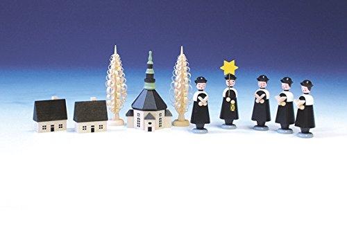 Weihnachtsfiguren Seiffener Kirche mit Kurrende, bunt - Kurrendesänger – Kurrendefiguren - Holzfiguren – Höhe 10 cm - Handarbeit aus dem Erzgebirge - NEU