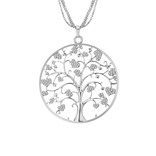 Ouran Fashion Necklace for Women,Celtic Tree of Life Pendant Necklace with CZ Crystal Girls Long Chain Sweater Necklace Shining Rhinestone Necklace (Silver Plated)