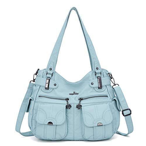 Angelkiss Women's Designer Handbag Large Double Zipper Multi Pocket Washed, L.blue