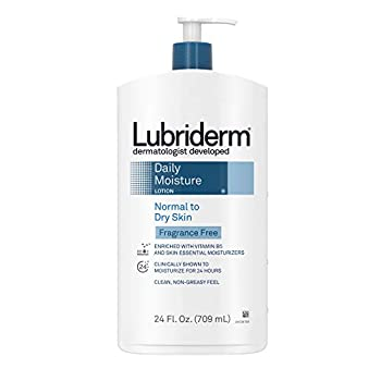 Lubriderm Daily Moisture Hydrating Unscented Body Lotion with Vitamin B5 for Normal to Dry Skin Non-Greasy and Fragrance-Free Lotion 24 fl oz