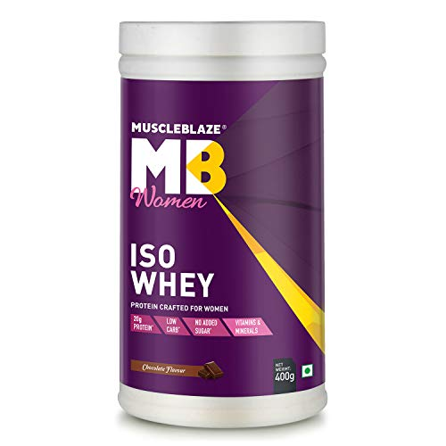 MuscleBlaze Women Iso Whey Low Carb, 100% Whey Protein Isolate (Chocolate, 400 g / 0.88 lb, 15 Servings)