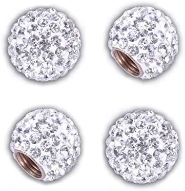 JUSTTOP Car Wheel Tire Valve 4 Pack Handmade Crystal Rhinestone Car Stem Air Caps Cover Attractive product image