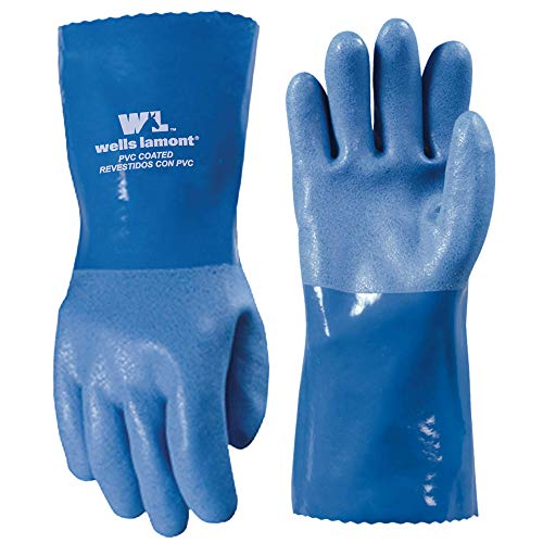 Wells Lamont Heavy Duty PVC Coated Work Gloves   Liquid/Chemical, Abrasion & Cut Resistant, Waterproof   Versatile, Flexible, Durable   Cotton Lining, Large (174L) , 12 inch Cuff , Blue