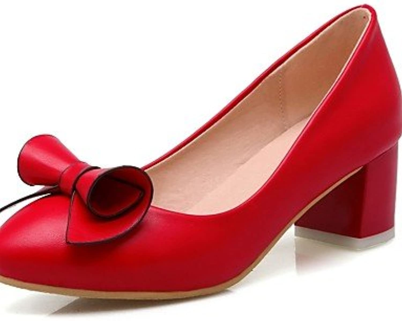 GGX  Damen-High Heels-Büro   Lässig-PU-Blockabsatz-Absätze     Rundeschuh-Schwarz   Rot   Weiß B01KL7XQF2  Verbraucher zuerst fd3237