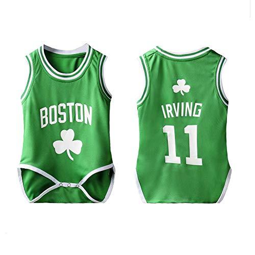 PAOFU Baby Bodysuit Trikot NBA Celtics Irving 11# Krabbelanzug Atmungsaktiver Basketball NBA Fan Baby Boy,Grün,12(75~90cm)