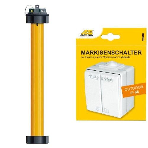Schellenberg 20277 Markisenmotor Plus 50 + Schellenberg 25010 Markisenschalter für Außenbereich