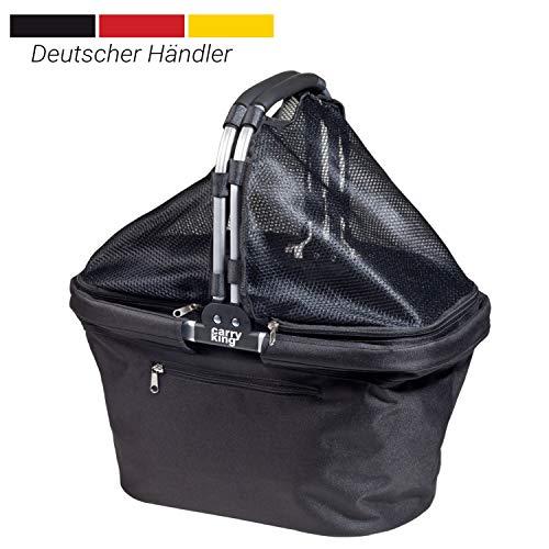 Carryking Faltbarer Einkaufskorb schwarz mit Erweiterungsnetz und Aluminiumgriff Klappbare Einkaufstasche max 32 Liter Volumen