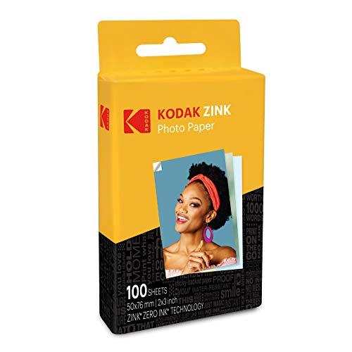 Kodak Papel fotográfico Zink Premium de 2x3 Pulgadas (100 Hojas) Compatible con cámaras e impresoras Kodak PRINTOMATIC, Kodak Smile y Step