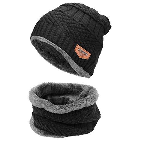 CestMall Wintermütze und Schal 2-teiliges warmes Strickmütze und Rundschal mit Fleece-Innenfutter, warmes Fell für Damen, Herren, Kleinkinder, Babys, Jungen, Mädchen, Schwarz