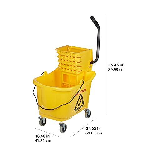 Amazon Basics Side Press Wringer Combo Commercial Mop Bucket on Wheels, 35 Quart, Yellow