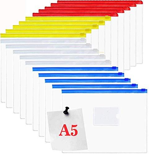 Dokumententasche A5, Reißverschlusstasche Datei Taschen, 20 Stück Kunststoff Zip Ordner
