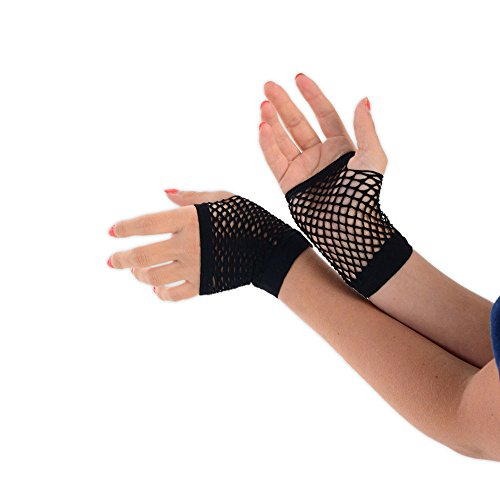 Black Fishnet Fingerless Gloves for Punk Fancy Dress