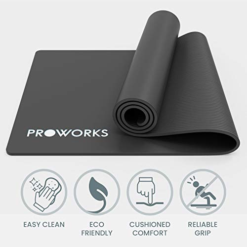 Proworks Yoga Mat, Eco Friendly NBR, Non-Slip Exercise Mat with Carry Strap for Yoga, Pilates, and Gymnastics - 183cm x 60cm x 1cm - Black