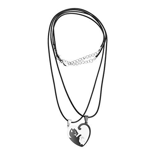 EMSea Collar con forma de corazón de acero inoxidable con colgante de gato Yin Yang de plata negra para él y ella