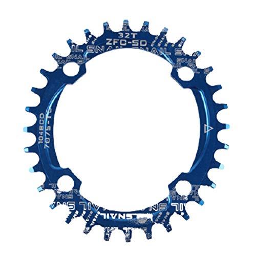 lamta1k Fahrrad-Kettenblatt, rund/oval, 104BCD 32T 34T 36T 38T schmales breites einzelnes Kettenblatt für Fahrrad – Blau 32 Ellipse