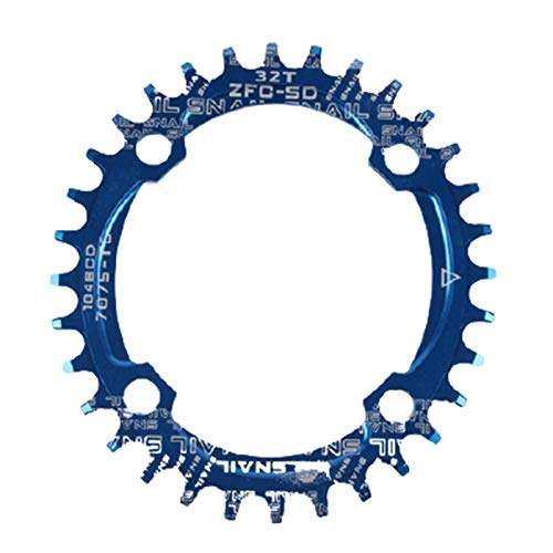lamta1k Cadena para bicicleta, redonda/ovalada, 104BCD 32T 34T 36T 38T estrecha y ancha para bicicleta – azul 32 elipse