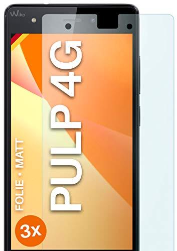 moex Schutzfolie matt kompatibel mit Wiko Pulp 4G - Folie gegen Reflexionen, Anti Reflex Bildschirmschutz, Matte Bildschirmfolie - 3X Stück