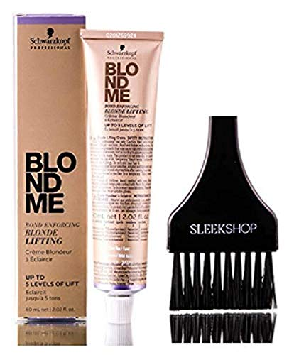 Schwarzkopf BLOND ME Bond Enforcing BLONDE LIFTING, Up to 5 Levels of Lift HAIR COLOR (with Sleek Tint Applicator Brush) Blondme Haircolor (ASH)