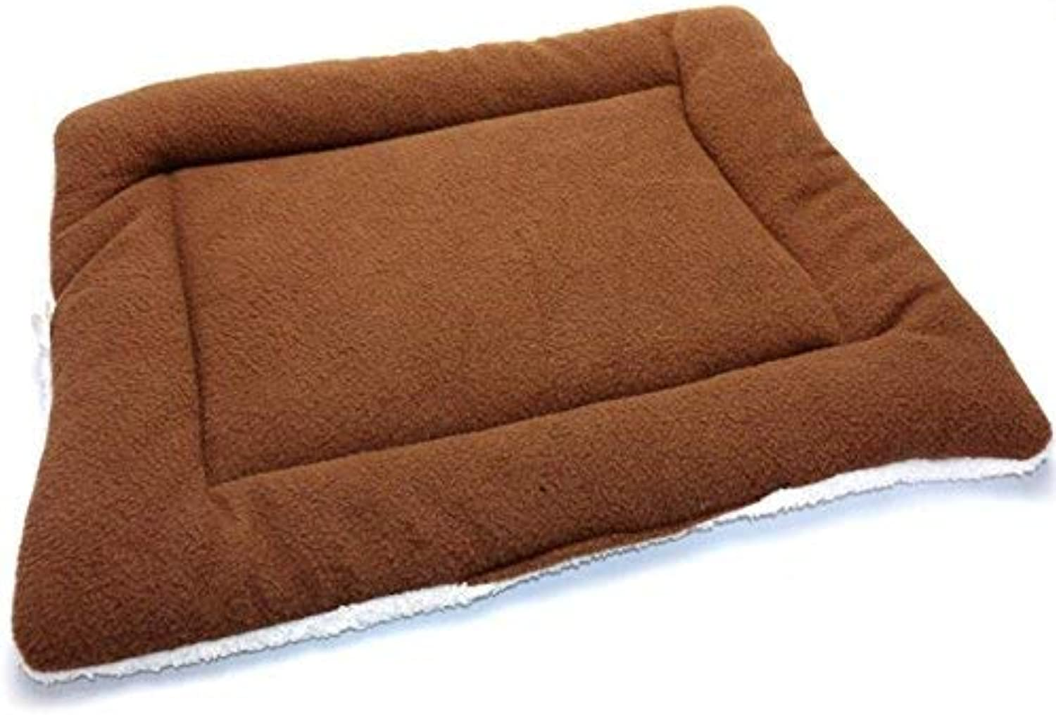 JINGB Pet Supplies Comfortable Pet Pad Air Conditioning Blanket Cat Dog Sleeping Pad Pet Supplies (Brown L) Pet Bed Blanket